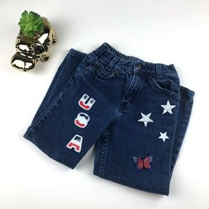 Vintage Girls USA Embroidered Patch Jeans Size 6